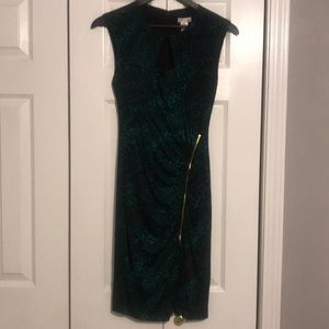 Green and black leopard print day dress